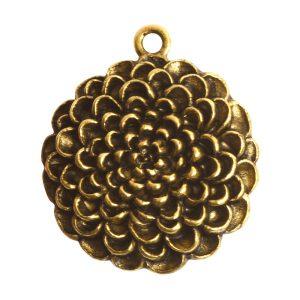 Pendant Charm Grande Mum Flower Single LoopAntique Gold