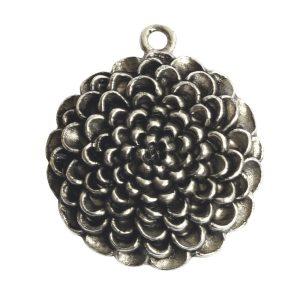 Pendant Charm Grande Mum Flower Single LoopAntique Silver