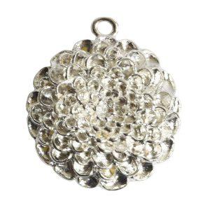 Pendant Charm Grande Mum Flower Single LoopSterling Silver Plate