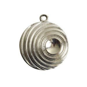 Pendant Charm Large Retro Single LoopSterling Silver Plate