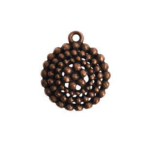 Pendant Charm Small Beaded Single LoopAntique Copper