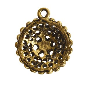 Pendant Charm Small Beaded Single LoopAntique Gold