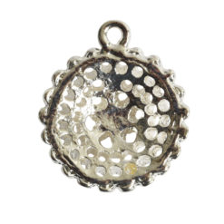 Pendant Charm Small Beaded Single LoopSterling Silver Plate