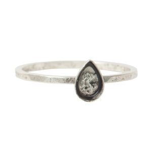Ring Hammered Thin Bitsy Drop Size 8Antique Silver