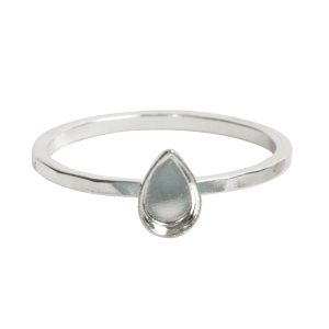 Ring Hammered Thin Bitsy Drop Size 8Sterling Silver Plate