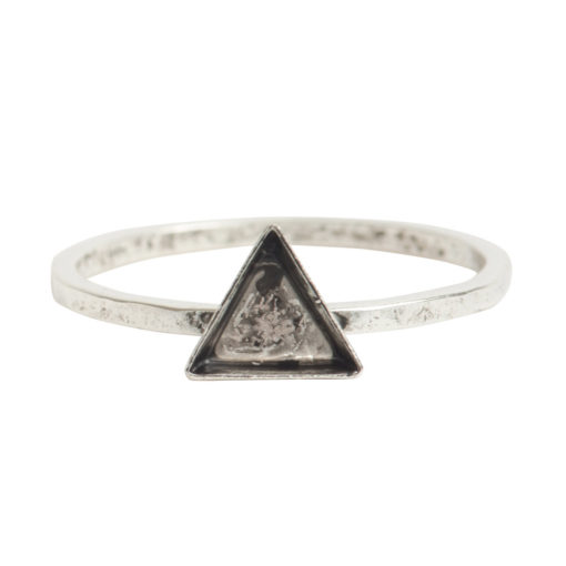 Ring Hammered Thin Bitsy Triangle Size 8Antique Silver