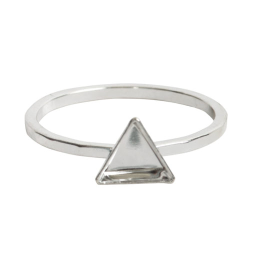 Ring Hammered Thin Bitsy Triangle Size 9Sterling Silver Plate