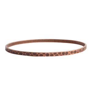 Bangle Bracelet Hammered ThinAntique Copper
