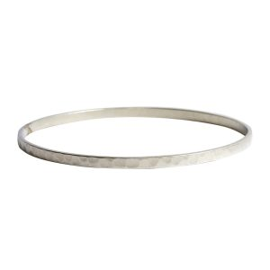 Bangle Bracelet Hammered ThinAntique Silver