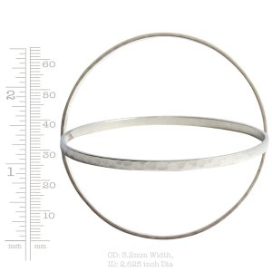 Bangle Bracelet Hammered Thin<br>Antique Silver
