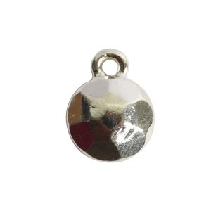 Charm Flat Back Faceted Circle 9mm Single LoopSterling Silver Plate