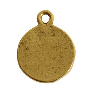 Charm Flat Back Faceted Circle 13mm Single Loop<br>Antique Gold