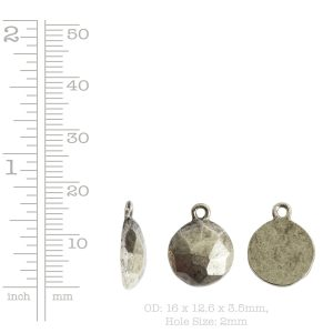 Charm Flat Back Faceted Circle 13mm Single Loop<br>Antique Silver