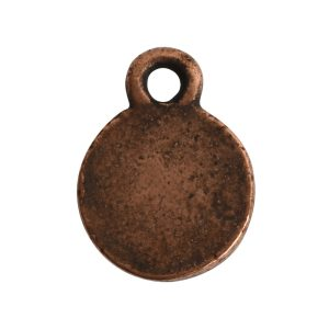Charm Flat Back Faceted Circle 9mm Single LoopAntique Copper