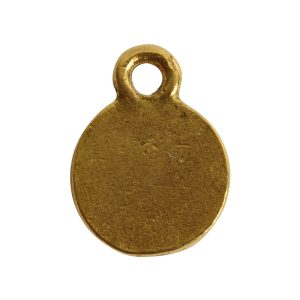 Charm Flat Back Faceted Circle 9mm Single Loop<br>Antique Gold