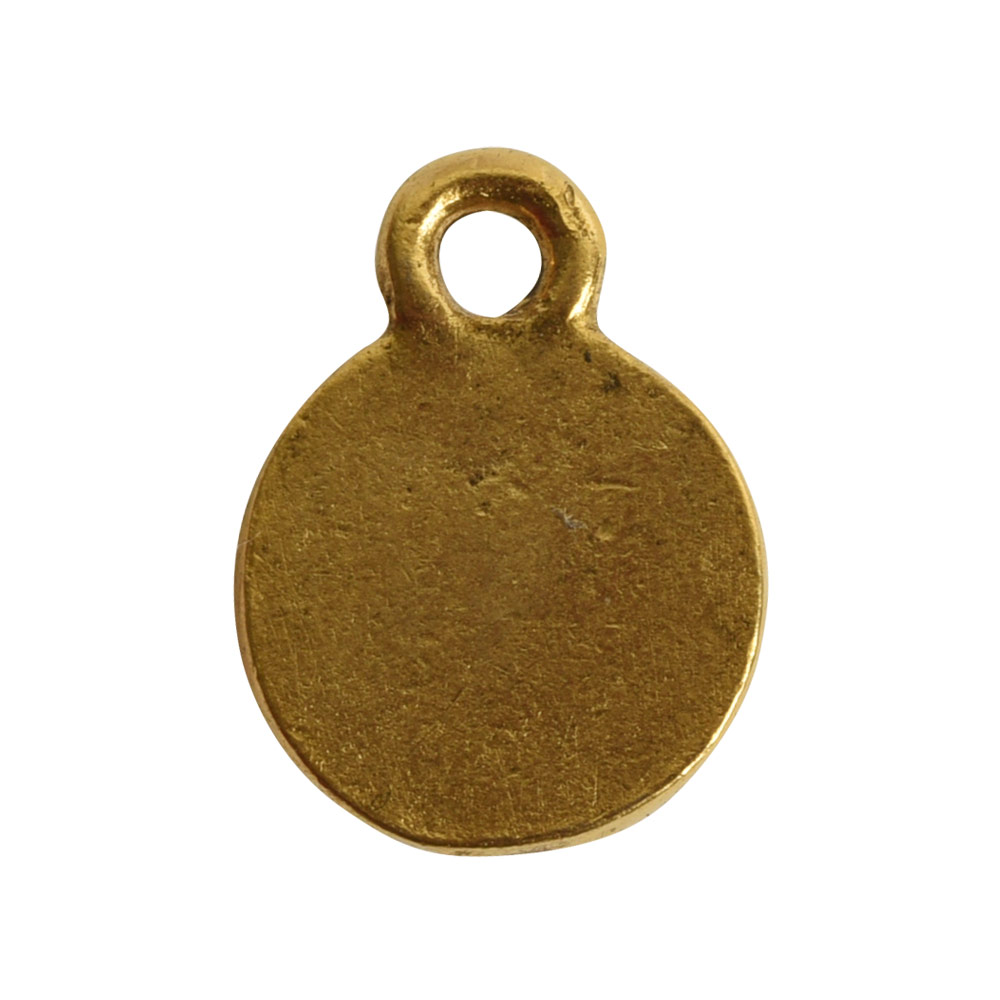 Charm Flat Back Faceted Circle 9mm Single LoopAntique Gold