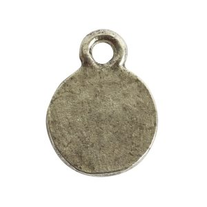 Charm Flat Back Faceted Circle 9mm Single LoopAntique Silver