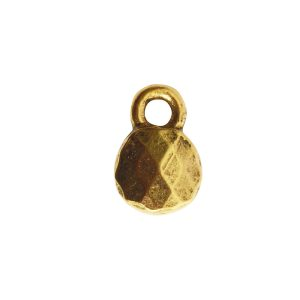 Charm Faceted Circle 6mm Single LoopAntique Gold