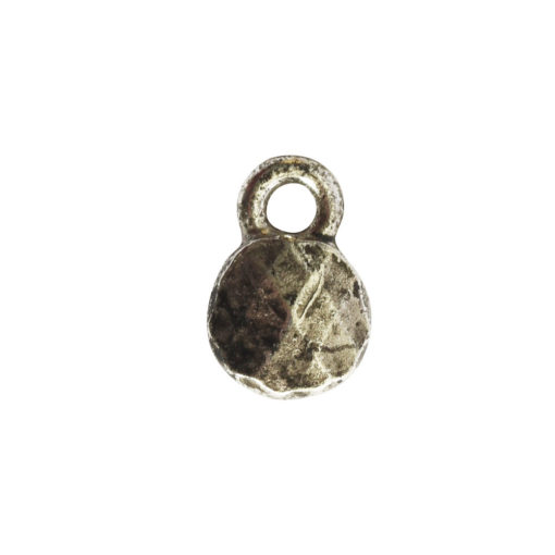 Charm Faceted Circle 6mm Single LoopAntique Silver