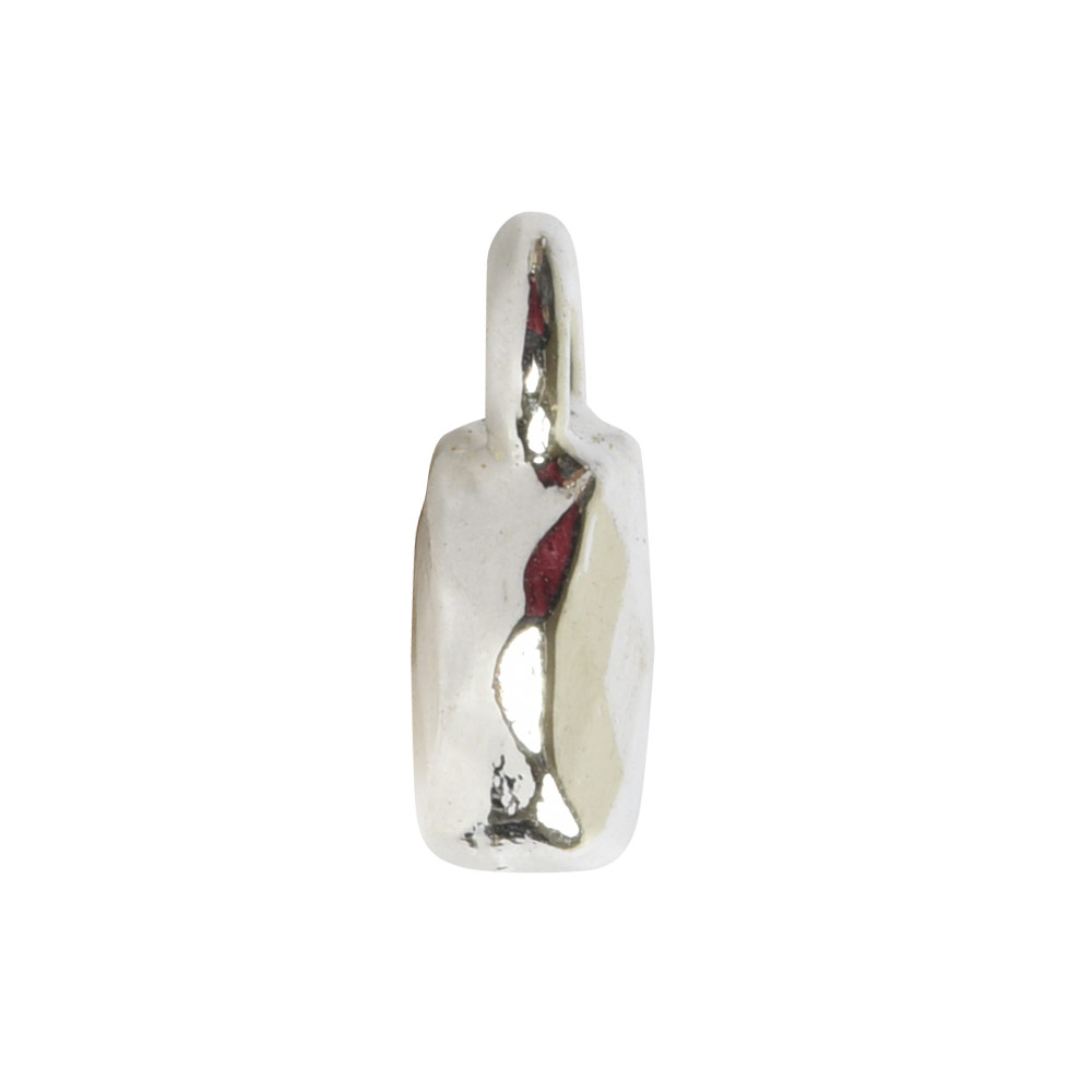 Charm Faceted Circle 6mm Single LoopSterling Silver Plate