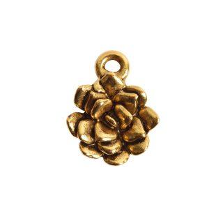 Charm Succulent 12mm Single LoopAntique Gold