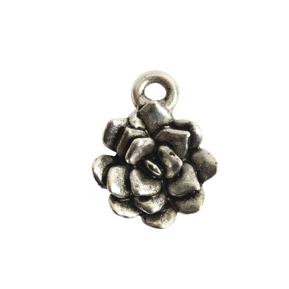 Charm Succulent 12mm Single LoopAntique Silver