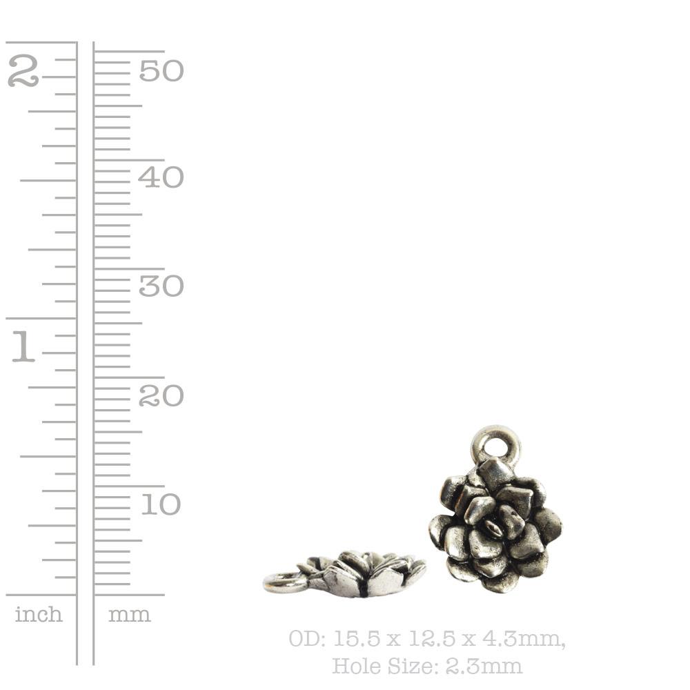 Charm Succulent 12mm Single LoopAntique Copper