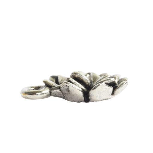 Charm Succulent 12mm Single LoopAntique Silver