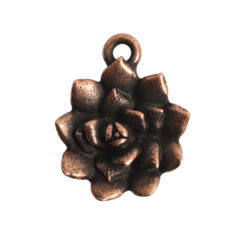 Charm Succulent 16mm Single LoopAntique Copper