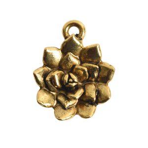 Charm Succulent 16mm Single LoopAntique Gold