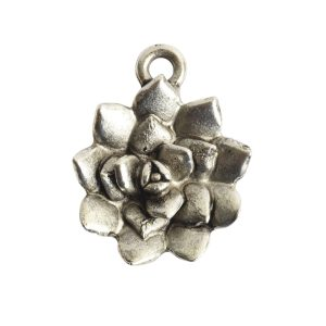 Charm Succulent 16mm Single LoopAntique Silver
