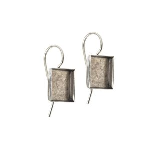 Earrng Wire 10mm SquareAntique Silver NF