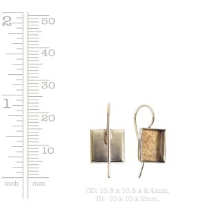 Earrng Wire 10mm Square<br>Antique Gold NF