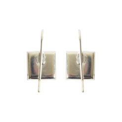Earrng Wire 10mm SquareSterling Silver Plate NF