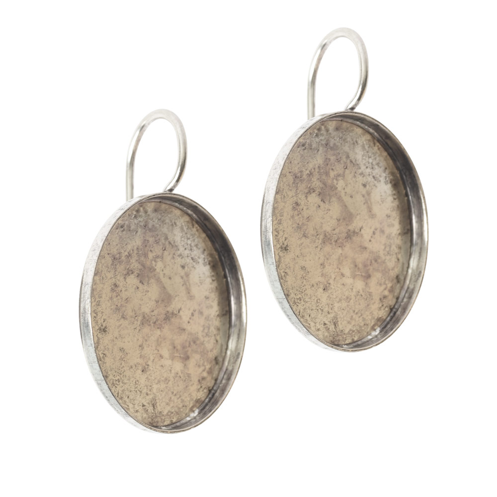 Earring Wire 18mm CircleAntique Silver NF