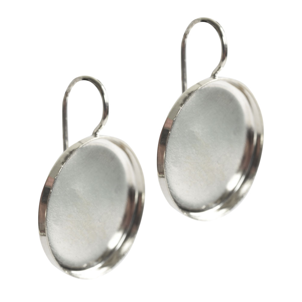 Earring Wire 18mm CircleSterling Silver Plate NF