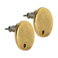 Earring Post Tag Mini Circle Single HoleAntique Gold NF