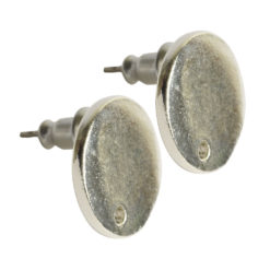Earring Post Tag Mini Circle Single HoleSterling Silver Plate NF
