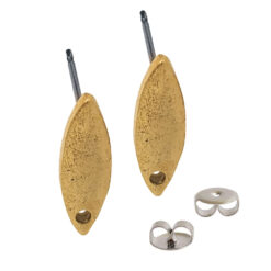 Earring Post Tag Mini Navette Single HoleAntique Gold NF