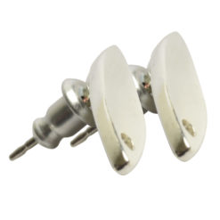 Earring Post Tag Mini Navette Single HoleSterling Silver Plate NF