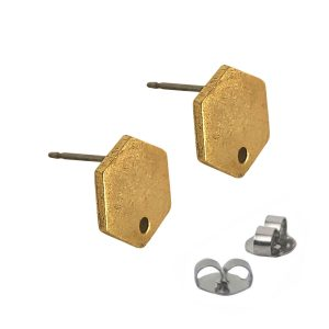 Earring Post Tag Mini Hexagon Single HoleAntique Gold NF