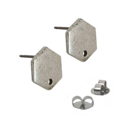 Earring Post Tag Mini Hexagon Single HoleAntique Silver NF