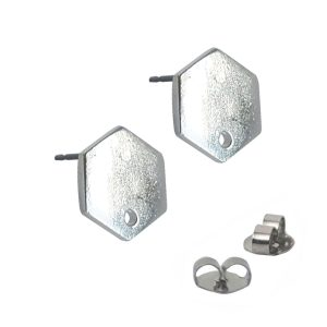 Earring Post Tag Mini Hexagon Single HoleSterling Silver Plate NF