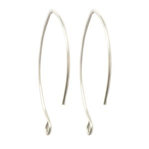Ear Wire V-Style 33mm<br>Sterling Silver Plate