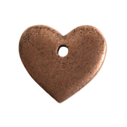 Flat Tag Mini Heart Single HoleAntique Copper