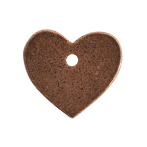 Flat Tag Mini Heart Single Hole<br>Antique Copper