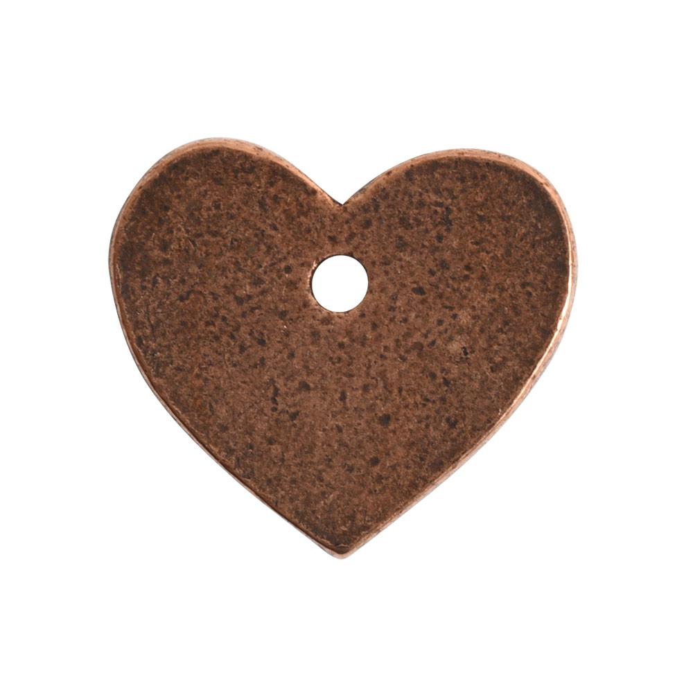 Flat Tag Mini Heart Single HoleAntique Copper