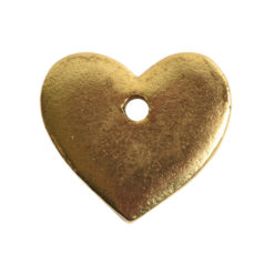 Flat Tag Mini Heart Single HoleAntique Gold