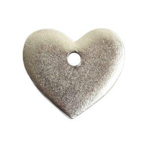 Flat Tag Mini Heart Single Hole<br>Antique Silver