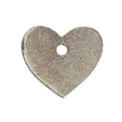 Flat Tag Mini Heart Single HoleAntique Silver